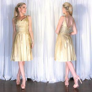 Levkoff Gold Metallic Tan Midi Bridesmaid Dress